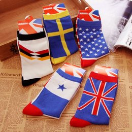 Wholesale Candy Colored Flag Socks France United States Brazil United Kingdom Hit Color Socks Men w