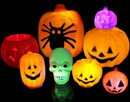 Wholesale 2015 Halloween Props Decorations Plastic Jack-O-Lantern Props Led Pumpkin Night Light Halloween Props Party Supplies