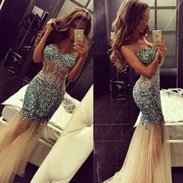 Wholesale 2016 Sparkly Artificial Rhinestones Major Beading Mermaid Prom Dresses Sweetheart Champagne Tulle Illusion Bodice Mermaid Evening Dress