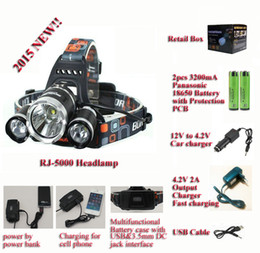 Running Time 5Hours !! BORUiT RJ-5000 Cree XM-L2 LED Headlamp with USB cable,3200mA Batteries,car charger and 4.2V 2A Charger