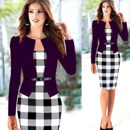 Foreign trade in Europe and America hit new winter color plaid long-sleeved dress fake two package hip dress temperament Slim