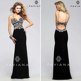 Wholesale Charming Backless Mermaid Evening Dresses Designer Faviana Gorgeous Colored Breads Black Chiffon Sexy Spaghetti Straps Prom Party Gowns