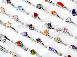 Women Jewelry Lots 10pcs Mixed Cubic Zirconia Silver P Jewelry Rings Fashion Silver Crystal Ring