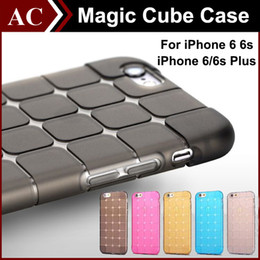 Wholesale iP7 Magic Cubee Shape Protective Cube Grid Series Soft Gel TPU Transparent Case For iPhone S SE S Plus Shockproof Clear Back Cover