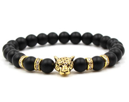 Natural Stone Black Beads Leopard Strand Bracelet Men Jewelry Animal Bangles Homme Femme Chain Ethnic Handmade Accessories Wholesale price