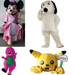Wholesale Cheap Mascot Pink Crown Minnie Mouse Mascots Costume SnoopyDog Pikachu Barney Christmas Halloween Birthday Party Costumes Outfits In Stock