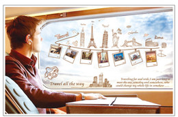 Removable Global Travel Workld Famous Buildings Art European Architecture Photo Frame Wall Stickers Bedroom Living Room TV Wall Sticker