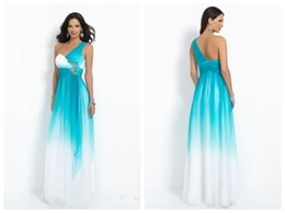Wholesale Chiffon A Line Prom Dresses New Ombre One Shoulder Sleeveless Rhinestones Sequins Evening Gowns Side Zipper Floor Length Blush Style