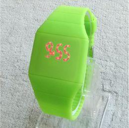 Wholesale 2014 Girls Boys LED digital Watch Ultra thin Design jelly Women wristwatch Unisex Silicone Strap fashion men watches reloje