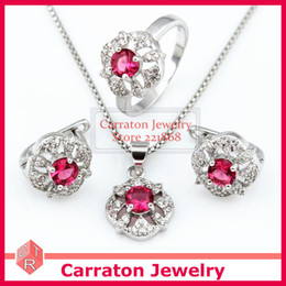 Wholesale-Carraton SXF3003 White Gold Plated Brass Roseo Stone Jewelry Sets Free Shipping