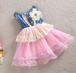 Wholesale baby girl kids lace dress Denim hole dress flower floral tutu dress vintage princess jumper wave ruffle zig zag crochet embroidery rosette