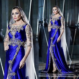 Wholesale Arabic Kaftan Dresses Evening Clothing Luxury Gold Crystal Beading Half Sleeves High Split Sexy Prom Party Gowns Plus Size Women Formal Wear