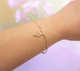 10PCS- B004 Gold Silver Three Triple 3 Triangles Bracelet Pyramid TriForce Bracelet Simple Geometric Chevron V Bracelets