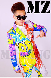 Male singer fashionable nightclub in Europe and the runway looks color lemon cola graffiti suit costumes. S - 6 xl