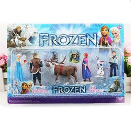 Descuento películas de acción Nueva llegada congelado Anna Elsa Hans Kristoff Sven Olaf acción del PVC calcula los juguetes Los juguetes clásicos muñecos de dibujos animados anime Películas