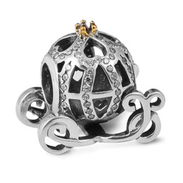 Cinderella Pumpkin Silver Charm with 14K Gold and Clear CZ 100% 925 Sterling Silver Beads Fit Pandora Charms Bracelet Fashion Jewelry