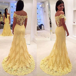 Fabulous 2016 Yellow Lace Off Shoulder Mermaid Evening Dresses Sexy Applique Illusion Back Long Party Gowns For Wedding Custom Made EN1159