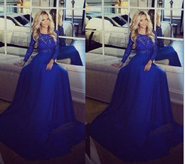 2015 Sheer Lace Long Sleeve A-Line Evening Dresses Floor Length Jewel Neckline Chiffon Long Prom Dress