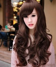Wholesale - 2014 New Arrival 65cm Dark Brown Culy Wave LongParty Cosplay Hair Wig Free Shipping,It's Available Light Brown,B