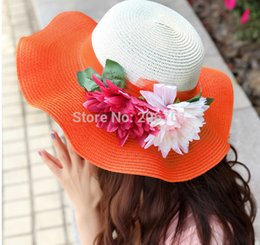 Wholesale Beautiful Flowers Women s Uv protection Sun hat flowers collapsible summer sun hat Best Gift