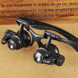 Wholesale 10X X X X Jeweler Watch Repair Magnifying eye Glasses Style Magnifier Loupe Lens With LED Light G