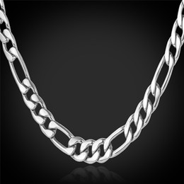 18K Real Gold Plated Figaro Chain Necklaces for Men High Quality Stainless Steel Mens Gold Chain