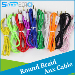 Wholesale Gold braided woven Aux Audio Cable Cord mm Car Extension ft m Auxiliary Replacement Male to Male port Wire for mp3 Speaker