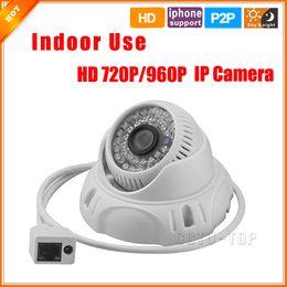Promotion dôme intérieur caméras ip Caméra dôme intérieure 720P 960P HD filaire Caméra IP ONVIF 2,0 P2P Caméra de sécurité 48 LED IR CCTV Filtrez 3.6MM 1.0MP objectif