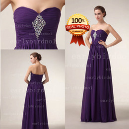 Wholesale Cowl Back Bridesmaid Dresses - 2015 New Fashion Chiffon Purple Bridesmaid Dresses Sweetheart Ruffle Blingbling Crystals Sequins Beading Prom Dresses Evening Gowns BZP0023