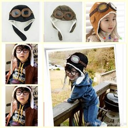 Wholesale 30PCS TOPB1358 hot kids color winter pilot earflap caps beanie warm hats airforce beanie caps baby pilot flight earflap plush beanie