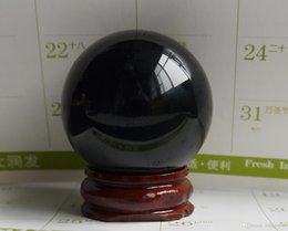 Wholesale Stone Sphere Stands - 40MM+stand Natural Black Obsidian Sphere Large Crystal Ball Healing Stone HOT