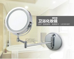 Wholesale New fashion inches led bathroom mirror Dual Arm Extend Face Makeup mirror magnifying X Equipped metal round Wall mirror