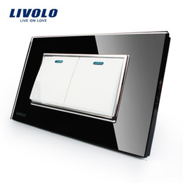 Wholesale Cheapest Livolo Manufacturer Luxury Black Crystal Glass Panel Gangs Way Push Button Switch VL C3K2S