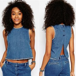 Women Sexy Denim Tank Tops Summer Style 2015 High Street Denim Jean Shirt Short Blouse Sleeveless Casual Tops Female Blusas 2934