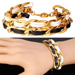 U7 Rock Chain Leather Bracelet For Women  Men Jewelry Trendy 18K Real Gold Plated Cuban Link Chain Mens Bracelet Gift