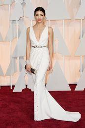 2015 Oscar Jenna Tatum Red Carpet Celebrity Dresses Mermaid Sexy Deep V Neck Beaded Gowns DHYZ 01