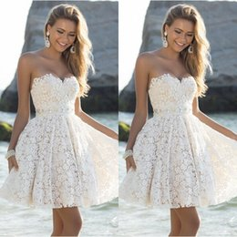 Wholesale Short Overlay Dress Prom - Short Beach Wedding Dresses 2015 Summer Perfect Sweetheart and Flare Knee Length Party Dresses Nude Satin Ivory Lace Overlay Prom Dresses