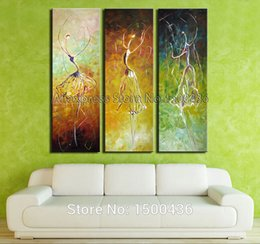 Wholesale Hand Painted Abstract Ballet Dancers Oil Painting On Canvas Piece Modern Wall Art Decoration Home Picture Sets