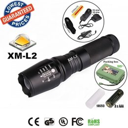 Wholesale ALONEFIRE E26 CREE XM L2 Lumens Zoomable LED Flashlights Torches lamplights with rechargeable Battery charger holster box