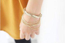 Chain Link Bracelets Fashion Design Girl Jewelry Handmade Crystal Rhinestone Bracelets Women Charm Bangle Alloy bracelet multilayer Chain