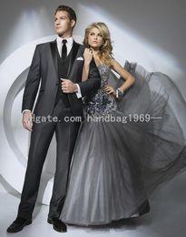 New Custom Design One Button Charcoal Grey Groom Tuxedos Peak Lapel Best Man Groomsmen Mens Wedding Suits (Jacket+Pants+Vest+Tie) AA498