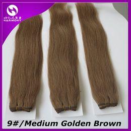 Marrón brasileño recto pelo tejido en Línea-Pelo humano brasileño teje la trama 100g 20inch # 9 / Medio de oro de Brown Remy Straight extensiones indias del pelo pelo lía
