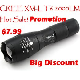 Wholesale-E17 CREE XM-L T6 2000Lumens cree led Torch Zoomable cree LED Flashlight Torch light For 3xAAA or 1x18650-Free shipping
