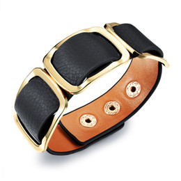 Fashion Women Wide Leather Bracelet Jewelry Chunky Leather Cuff Bracelet with Buckles Adjust to your Wrist
