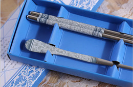 Wholesale sets stainless steel Dinnerware Blue White Porcelain spoons chopstick sets Wedding Party Gifts for Guest