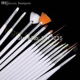 Wholesale-HOT! 15PCS LOT White Nail Brush Brushes Set Nail Paint Design Pen Tools for False Nail Design Painting Pen 3D Art Tool #X128