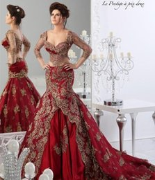 High Quality Arabic Dresses 2017 Red Long Sleeve Mermaid Evening Gowns With Golden Appliques Arabic Jajja Couture Dresses Sweep Train
