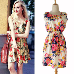 Wholesale Short dresses Vestidos by coupon Sleeveless Print flower Dresses women summer short dresses