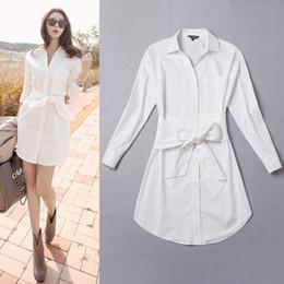 Korean women s dress à venda-2016 Outono Inverno Moda Vestido Mulheres Coreano Casual Slim Bow Sash Luva Longa Turn Down Colar Brief Vestido Branco Vestidos Saias D13