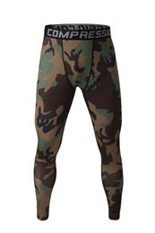 Wholesale-Mens Running Camo Base Layer Fitness Jogging Compression Tights Long Pants Sport Basketball Training Leggings Mens Gym Wear